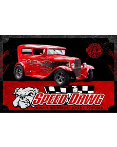 SPEED DAWG HOT ROD, Military, Metal Sign, Wall Art, 18 X 12 Inches
