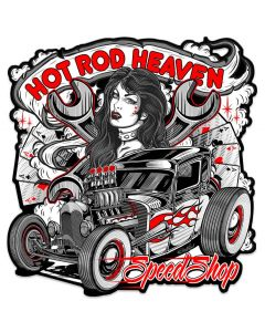 Hot Rod Heaven 2 Vintage Sign, Other, Metal Sign, Wall Art, 24 X 25 Inches
