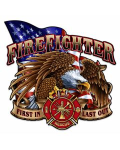 Fire Fighter Eagle Vintage Sign, Other, Metal Sign, Wall Art, 24 X 24 Inches
