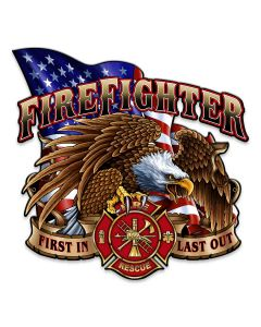 Fire Fighter Eagle Vintage Sign, Other, Metal Sign, Wall Art, 14 X 14 Inches