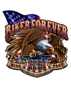 Biker Forever Eagle Vintage Sign, Other, Metal Sign, Wall Art, 18 X 18 Inches