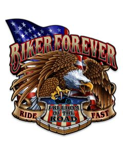 Biker Forever Eagle Vintage Sign, Other, Metal Sign, Wall Art, 14 X 14 Inches
