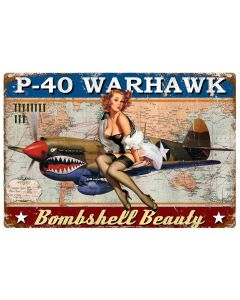 P-40 Warhawk Pinup Vintage Sign, Other, Metal Sign, Wall Art, 30 X 20 Inches
