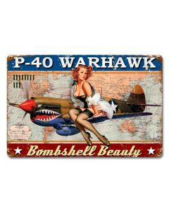 P-40 Warhawk Pinup Vintage Sign, Other, Metal Sign, Wall Art, 18 X 12 Inches