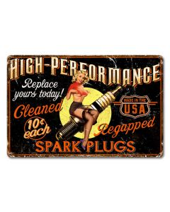 Girl Spark Plug Vintage Sign, Other, Metal Sign, Wall Art, 18 X 12 Inches
