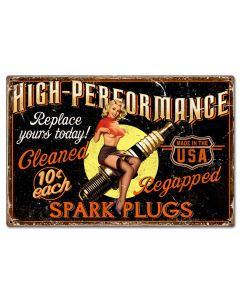 Girl Spark Plug Vintage Sign, Other, Metal Sign, Wall Art, 24 X 16 Inches
