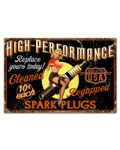 Girl Spark Plug Vintage Sign, Other, Metal Sign, Wall Art, 30 X 20 Inches