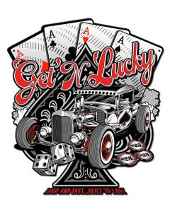 Get N Lucky Vintage Sign, Other, Metal Sign, Wall Art, 14 X 16 Inches