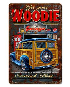 Woodie Vintage Sign, Other, Metal Sign, Wall Art, 12 X 18 Inches