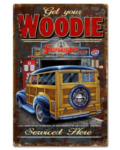Woodie Vintage Sign, Other, Metal Sign, Wall Art, 16 X 24 Inches