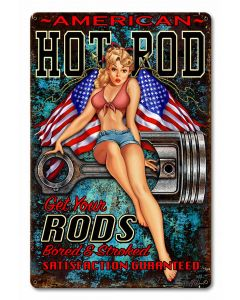 Hot Rod Girl 4 Vintage Sign, Other, Metal Sign, Wall Art, 12 X 18 Inches