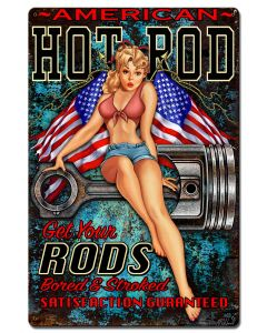 Hot Rod Girl 4 Vintage Sign, Other, Metal Sign, Wall Art, 16 X 24 Inches