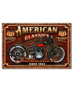 American Classic Vintage Sign, Other, Metal Sign, Wall Art, 24 X 16 Inches