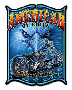 American By Birth Vintage Sign, Other, Metal Sign, Wall Art, 12 X 16 Inches