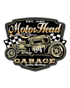 Motor Head Garage Vintage Sign, Other, Metal Sign, Wall Art, 12 X 10 Inches