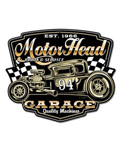 Motor Head Garage Vintage Sign, Other, Metal Sign, Wall Art, 14 X 12 Inches