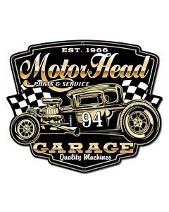 Motor Head Garage Vintage Sign, Other, Metal Sign, Wall Art, 18 X 16 Inches
