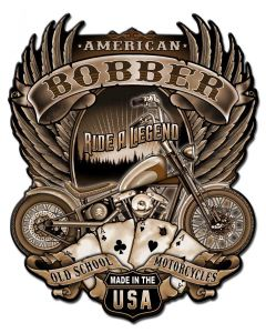 American Bobber Vintage Sign, Other, Metal Sign, Wall Art, 12 X 15 Inches