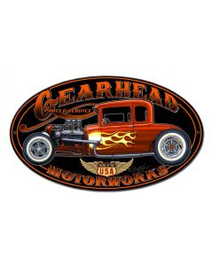 Gearhead Motorworks Vintage Sign, Other, Metal Sign, Wall Art, 14 X 8 Inches