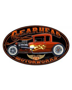 Gearhead Motorworks Vintage Sign, Other, Metal Sign, Wall Art, 18 X 10 Inches