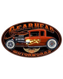 Gearhead Motorworks Vintage Sign, Other, Metal Sign, Wall Art, 24 X 14 Inches