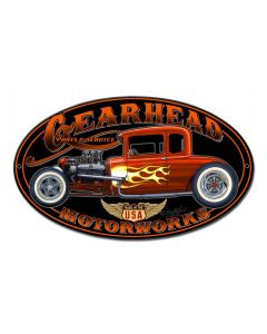 Gearhead Motorworks Vintage Sign, Other, Metal Sign, Wall Art, 12 X 7 Inches