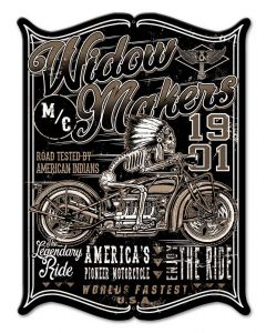 Widow Maker Vintage Sign, Other, Metal Sign, Wall Art, 12 X 16 Inches