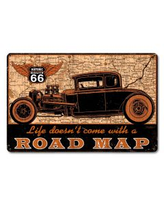 Road Map Vintage Sign, Other, Metal Sign, Wall Art, 18 X 12 Inches