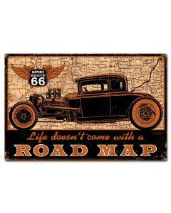 Road Map Vintage Sign, Other, Metal Sign, Wall Art, 24 X 16 Inches