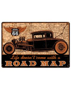 Road Map Vintage Sign, Other, Metal Sign, Wall Art, 36 X 24 Inches