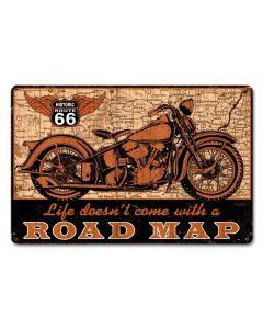 Road Map bike Vintage Sign, Other, Metal Sign, Wall Art, 18 X 12 Inches