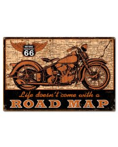 Road Map bike Vintage Sign, Other, Metal Sign, Wall Art, 24 X 16 Inches