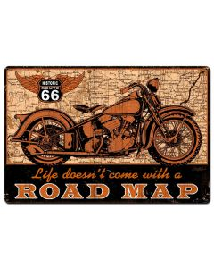 Road Map bike Vintage Sign, Other, Metal Sign, Wall Art, 36 X 24 Inches