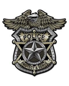 Police Badge Vintage Sign, Other, Metal Sign, Wall Art, 14 X 14 Inches