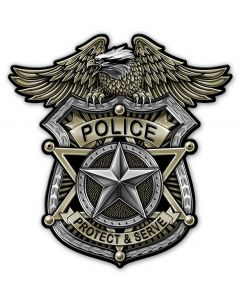 Police Badge Vintage Sign, Other, Metal Sign, Wall Art, 18 X 18 Inches