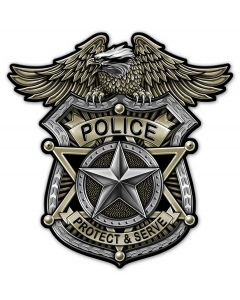 Police Badge Vintage Sign, Other, Metal Sign, Wall Art, 24 X 24 Inches