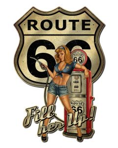 Rt66 Pin Up Fill Er Up Vintage Sign, Other, Metal Sign, Wall Art, 16 X 24 Inches