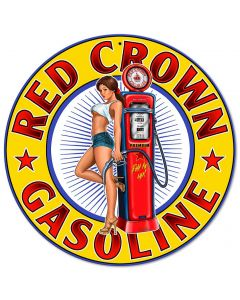 Red Crown New Vintage Sign, Other, Metal Sign, Wall Art, 14 X 14 Inches