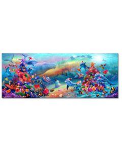 Xmas Marine Fantasy Vintage Sign, Ocean and Beach, Metal Sign, Wall Art, 26 X 10 Inches