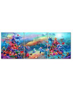 Xmas Marine Fantasy Vintage Sign, Ocean and Beach, Metal Sign, Wall Art, 30 X 11 Inches