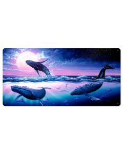Whale Journey Vintage Sign, Ocean and Beach, Metal Sign, Wall Art, 24 X 12 Inches