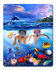 Snorkeling Fun Vintage Sign, Ocean and Beach, Metal Sign, Wall Art, 12 X 15 Inches