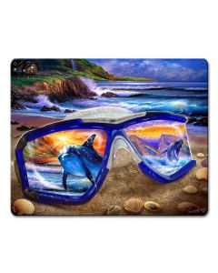 Snorkel Seashore Vintage Sign, Ocean and Beach, Metal Sign, Wall Art, 12 X 15 Inches