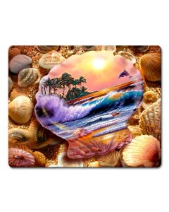 Seashell Fantasy Vintage Sign, Ocean and Beach, Metal Sign, Wall Art, 12 X 15 Inches