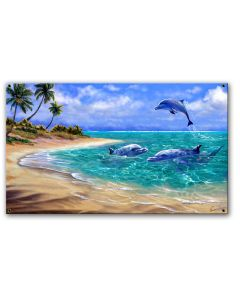 Bahama Dolphins Vintage Sign, Ocean and Beach, Metal Sign, Wall Art, 21 X 11 Inches