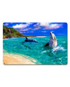 Smiling Dolphin Vintage Sign, Ocean and Beach, Metal Sign, Wall Art, 12 X 18 Inches