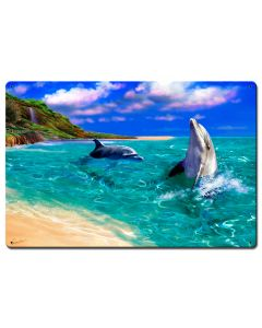 Smiling Dolphin Vintage Sign, Ocean and Beach, Metal Sign, Wall Art, 16 X 24 Inches