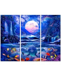 Moonlight Oasis, 3 Pieces Vintage Sign, Ocean and Beach, Metal Sign, Wall Art, 9 X 21 Inches