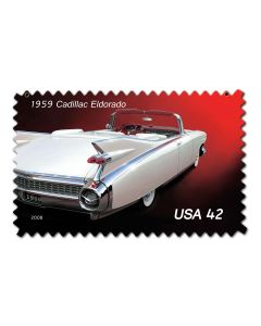 Cadillac POstage Stamp Vintage Sign, US Postal Service, Metal Sign, Wall Art, 18 X 12 Inches