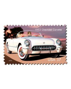 1953 Chevrolet Corvette Postager Stamp Vintage Sign, US Postal Service, Metal Sign, Wall Art, 18 X 12 Inches